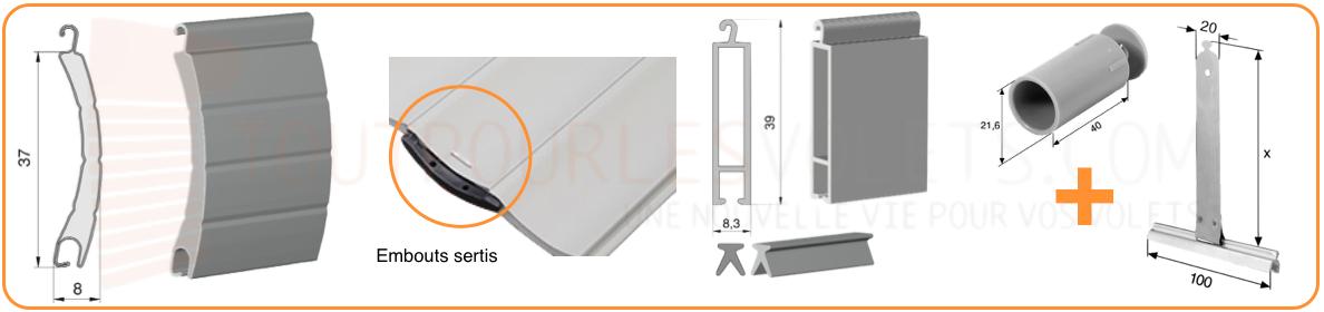 tablier aluminium sur mesure en lames de 37 mm pour volet roulant. Black Bedroom Furniture Sets. Home Design Ideas