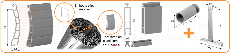 tablier pvc sur mesure en lames de 37 mm pour volet roulant. Black Bedroom Furniture Sets. Home Design Ideas