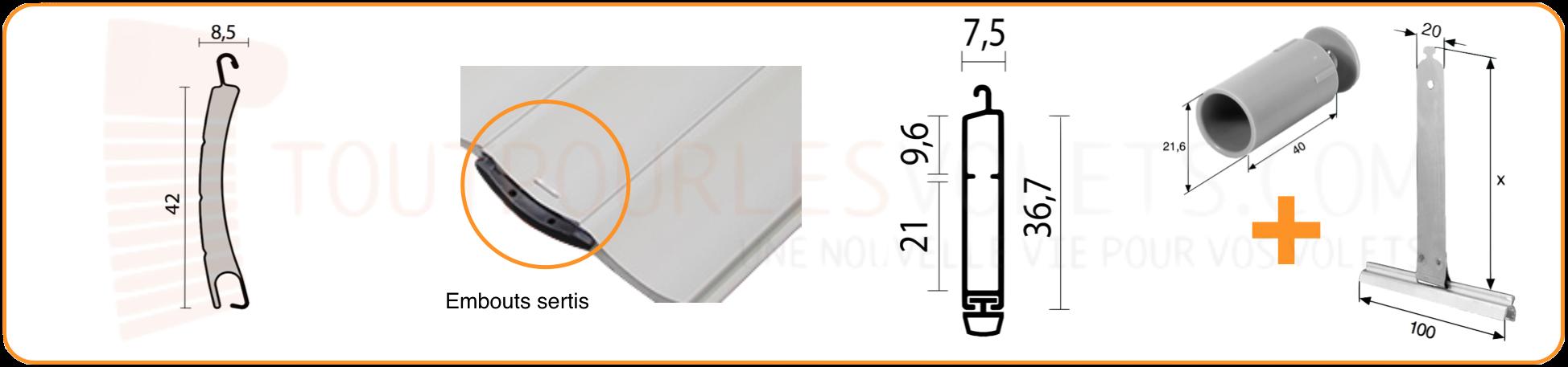 tablier aluminium sur mesure en lames de 42 mm pour volet roulant. Black Bedroom Furniture Sets. Home Design Ideas