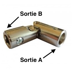 Genouillère acier  diam. 14 / carré 8 - Nickelé