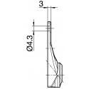 Sortie 45° Chromé 59x22 - Entrée diam. 12 femelle - Tige 6p7 L 300