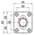 Sortie 45° PVC Blanc 45x52 - Entrée diam. 12 - Tige C6