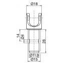 Sortie 45° PVC 52x26 - Entrée mâle 12 - Tige 6p7 L 300