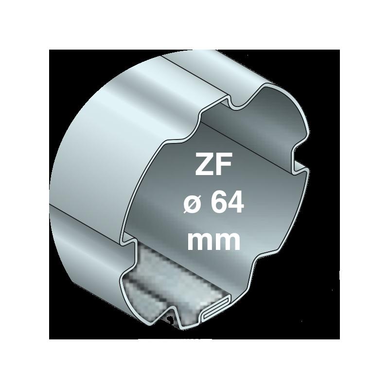 Tube rond canelé diam. 64 type ZF64 - 2500 mm