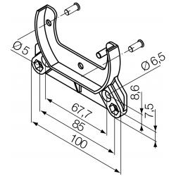 Support moteur Nice série ERA MH diam. 45 - Flanc caisson (entraxes 67,5 et 85 mm)