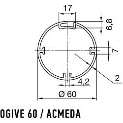 Adaptations moteur Nice série ERA diam. 45 et tube Acmeda / Ogive diam. 60 mm