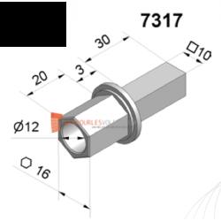 Pivot Hexa 16 avec trou diam. 12 et carré 10