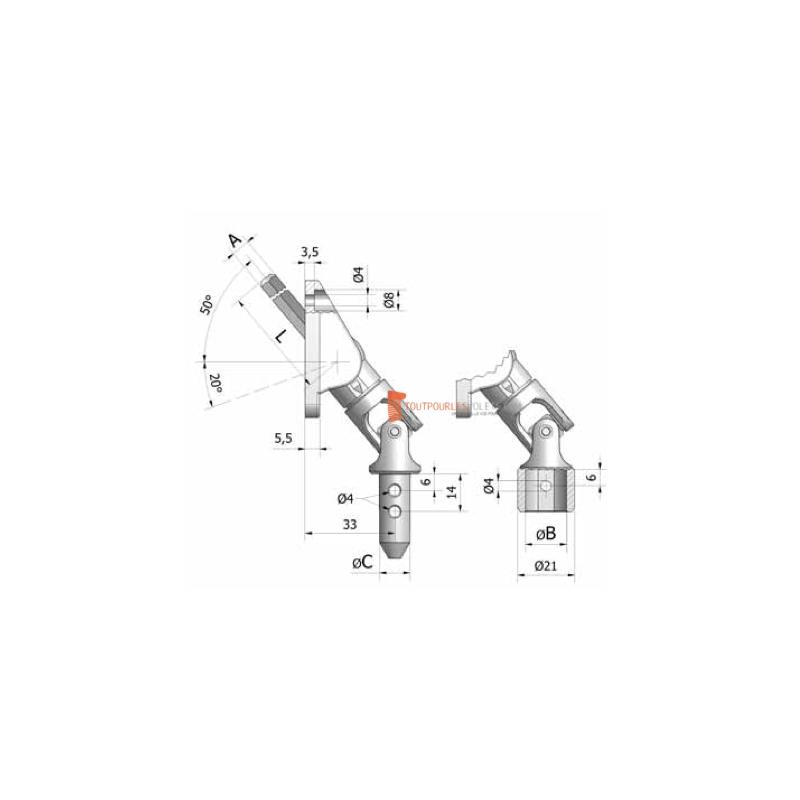 Sortie 50° - Entrée Rond ø 13 femelle - Tige Hexa 7 L 351 - Blanc