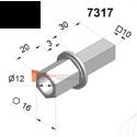 Pivot 6p16 avec trou diam. 12 et carré 10